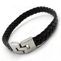 Wholesale Men's black Genuine Leather Bracelet Bangle Stainless Steel buckle Bangle Bracelets Fashion Jewelry Gift