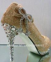 Golden wedding shoes stylish women's high heels women 's dress shoes shoes Free Shipping