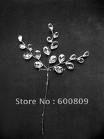 50X clear acrylic crystal drops on silver stem wedding favour Floral Craft Supplies Wedding decoration