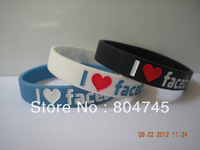 I Love Facebook Bracelet, Facebook Like Wristband, Filled in Colour, Adult size, 3 Colours, 100pcs/Lot, Free Shipping