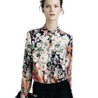 2014 new fashion women's long sleeve shirts retro vintage floral flower printing casual ladies slim blouses S-XL blusas#8240