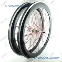 80mm Carbon Wheels Clincher With Aluminum Braking 700C Road Bicycle Wheels 3K Glossy Novatec Hubs 291/482