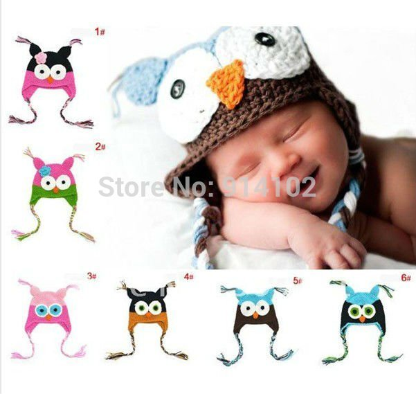 Toddler Owl Ear Flap Crochet Hat Baby Handmade OWL Beanie Hat Handmade OWL Beanies Knitted hat(China (Mainland))