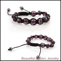 Handmade Punk Style Jewelry Crystal,Hematite Beads Black Rope Bracelet 4 Colors 8pcs/lot Mixed colors