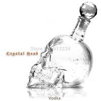Free shipping 350ml Crystal Skull Head Shape Wine Drinking Vodka Glass Bottle Decanter