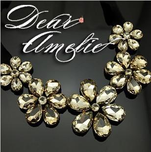 [Mix 15USD]Fashion Luxury vivi sparkling crystal big Flower Ribbon Collar Necklace