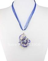 6pcs Baroque style Wholesale mix Fashion handmade gold dust Art heart metal Lampwork murano glass beaded pendant necklce jewelry