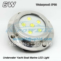 Free shipping IP68 DC 12v 6w Underwater Yacht Boat Marine LED Light Under water fishing light, wake board lamp