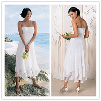 Chiffon Tea Length Wedding Dress Spaghetti Straps Informal Beach Bride Dress