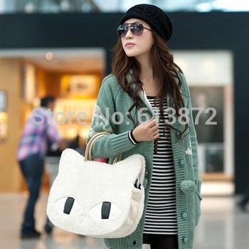 2014 Casual  Women's Handbag Cat Pattern Korean Floss Winter Bags  Products Wholesale ZX035