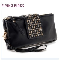 FLYING BIRDS 2012 Hot Europe Fashion Women Rivet Clutch Bag Long Size Wallet Elegant PU Leather Bag Hot Wholesale HB8101