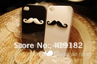 2pcs/lot New Hot  LEON Chaplin Sexy 3D Beard Mustache Hard Back Case Cover For Apple iPhone 4 4S Couple & Lovers