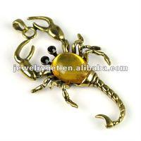 (2 piece/lot ) Antique brass Scorpion necklace pendant accessories, pt-644