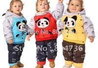 Baby winter suit +pant panda clothing boy fur clothing suit winter clothing set kids suit
