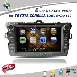 Free Shipping 8&#39;&#39; In stock ARM 11 Car DVD Player with iPod GPS TV BT Radio for Toyota Corolla 2006 to 2012 Corolla Altis(Hong Kong)