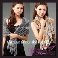 Fashion Genuine Rex Rabbit Fur Scarf  Accessories Scarf Shawl Wrap 8 Rows 140cm, Free Shipping