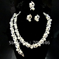 Silver Plated Beautiful Crystal and Cream Pearl Necklace,Bracelet,Earrings and Ring Jewelry Set