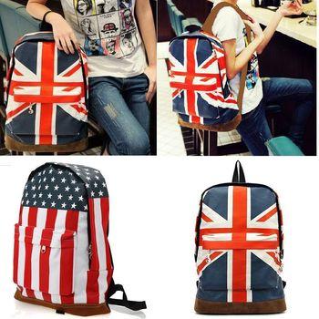 Dropshipping Free* UK England Flag Daily Canvas Punk Zipper Print Backpack Shoulder Bag  Duffle School Bag