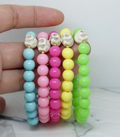 Free shipping (20pcs/lot)  Hand weaving, Candy skulls fluorescent bracelet, Bangle