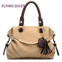 FLYING BIRDS 2012 Hot Wholesale Women Hit Color Fashion Shoulder Bag High Quality PU Tassel Handbag Dumpling-shaped Bag HC237