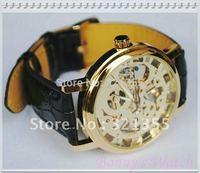 Free Shipping Mens black leather Gold Skeleton Hand Wind Mechanical Watch Unisex dress Watches Original Brand Winner