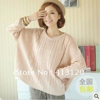 Free Shipping  Good Quality Women Super Size Long Sleeve Casual Loose Sweater 3 Colors