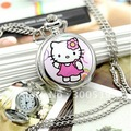 JW043 Fashion Classic  Hello Kitty Elegant  Mirror Pocket Watch Quartz  watch (with Silver necklace)Free Shipping