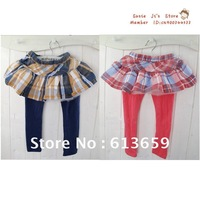 2012 new girls cotton leggings plaid skirts, divided skirt,Autumn 5pcs/lot Red and Blue Plaid .Free Shipping