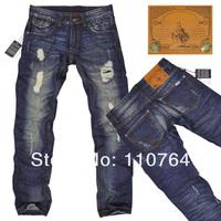 D 2014 Distressed Design Men Jeans Pants Straight Botton Washing Brands Denim Pants Wholesale & Retail