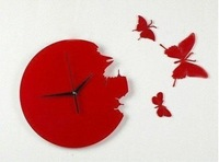 Free shipping butterfly wall clock/wall High quality clock/Decorative DIY Home decoration Christmas gift Wholesale&amp;Retail#A051