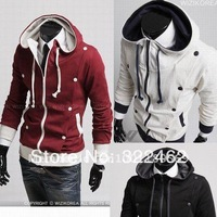 Hot Men Silm-Fit  Button Down Casual Hoodie Jacket Sweater Top 3 Color M-XXL 2159