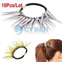10pcs/Lot New Fashion Ladies Cool Punk Rock Pony Tails Metal Spike Rivet Hair Band 5699(China (Mainland))