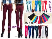 2014 women pants jeans candy color skinny pants pencil  plus size pants