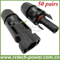 Free shipping wholesale MC4 solar connector for 4mm2 solar cable, male and female, PPO material, waterproof IP67, 50pairs/lot.