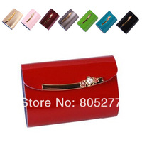 Ladies' Fashion Name Card Holders ID Holder, Patent Leather Solid Color Metal Flower Hasp Credit Card Holder, Not Wallet