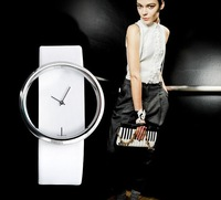 Wholesale free shipping Exquisite Hollow Dial Leather Watchband Wrist Watch for Female lady.