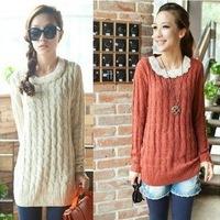 Long winter cotton sweater dress batwing beading knitted sweaters women 2014