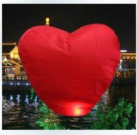 2014 CPAM FREE+Red heart shape 15pcs/lot Sky lanterns for Wedding Party wishing lanterns LOVE Heart shape Red colors fireproof(China (Mainland))