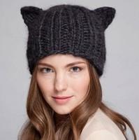 2014 Fashion Women Lady Devil Horns Cat Ear Crochet Braided Knit Ski Beanie Wool Hat Cap Winter Warm Beret 80032