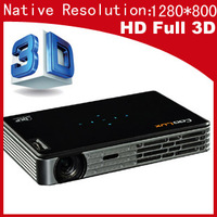 Really Full 3D HD DLP Led Proyector resolution 1280*800 Coolux Pocket  projector micro /mini projector with Battery Free DHL/EMS