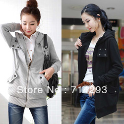 Free shipping Korea Zip Up Long Top Women's Hoodie Coat Jacket Many Buttons Sweatshirt Outerwear Fleece Black, Gray 3274(China (Mainland))
