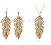 Free shipping hot selling wholesale price 18K gold plated leaf Austria Crystal rhinestone jewelry set,fashion jewelry set.