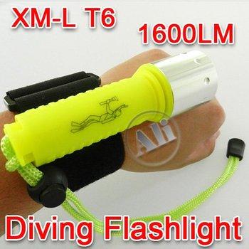FREE Shipping CREE XM-L XML T6 LED Waterproof Diving Flashlight Torch 1600LM 1PCS NEW