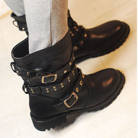 Boots Women Rivet  Boats For Teenies Fashion Punk Motorcycle Buckle Ankle Boots Free Shipping
