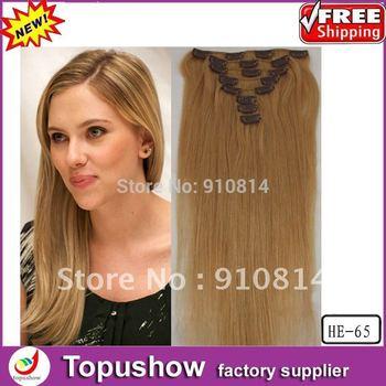"Free Shipping 27# Dark Blonde 100g 22"" 8pcs Hot Virgin Brazilian Hair Natural Hair of Human Weave Wholesales HE-65"