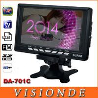2014 SUPER Multi-Fonction DA-701C New 7 inch TFT LCD Color Televisions Portable TV Monitor With Remote Control Support FM USB
