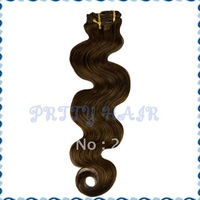 "Wholesale, 2*7pcs/lot 20"" 16clips,Color#4 Clip in  Hair Extensions, Brazilian Remy Human Hair  Body Wave"
