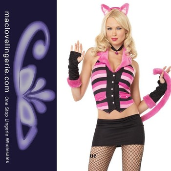 Free Shipping 5PCS Fashion New Sexy Hot Cat Kitten Costume Dress Charming Cheshire Cat Costume (Top+Skirt+Gloves+Headpiece+Tail)