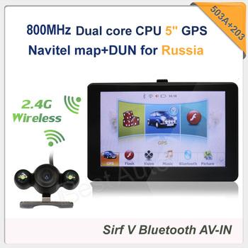 Hot sale 5 inch Car GPS Navigation SiRF Atlas-V CPU 800MHz preload Navitel map+DUN 2.4GHz universal wireless parking camera