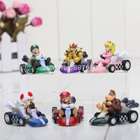 3-5cm Super Mario Bros Kart PULL BACK Car Figures 6pcs/set Free shipping